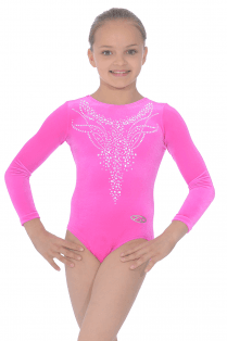 Long Sleeve Smooth Velour Leotard Motif 3
